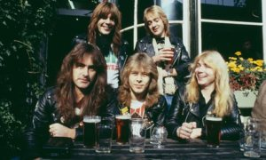 Iron Maiden, with drummer Clive Burr
